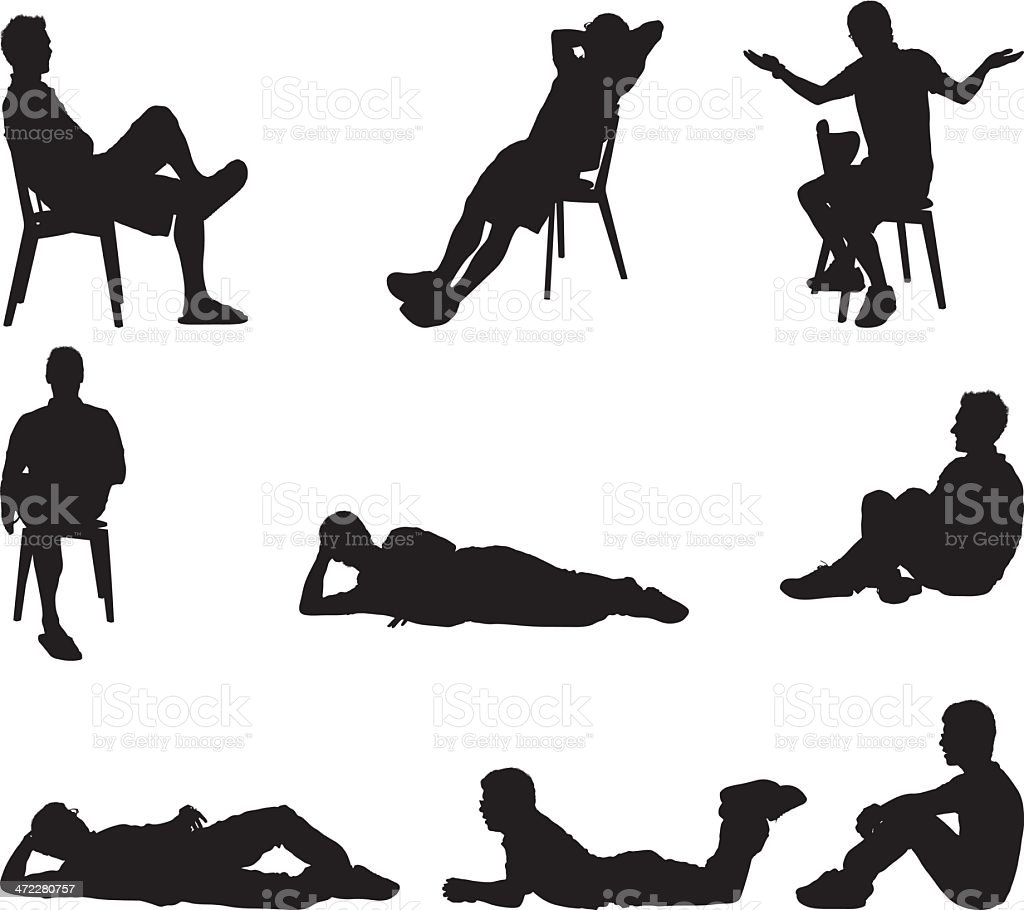 Male silhouettes sitting and laying around vector art illustration