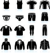 Male Sportswear and Clothing black & white icon set