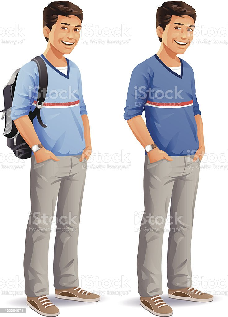Male Student With Backpack vector art illustration