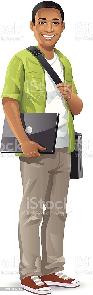 Male Student With Laptop vector art illustration