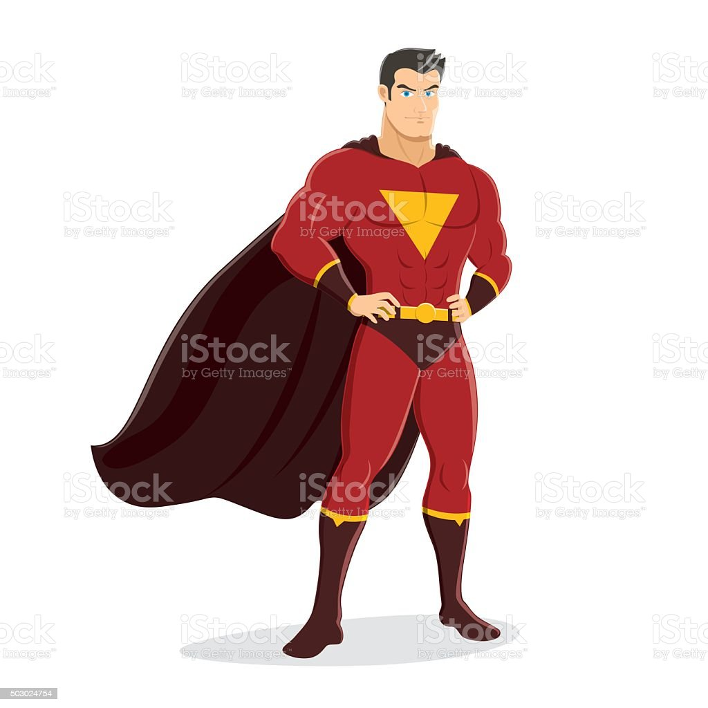 Male Superhero Standing with Pride and Confident vector art illustration