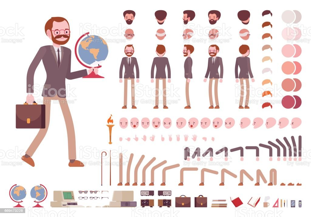 Male teacher character creation set vector art illustration