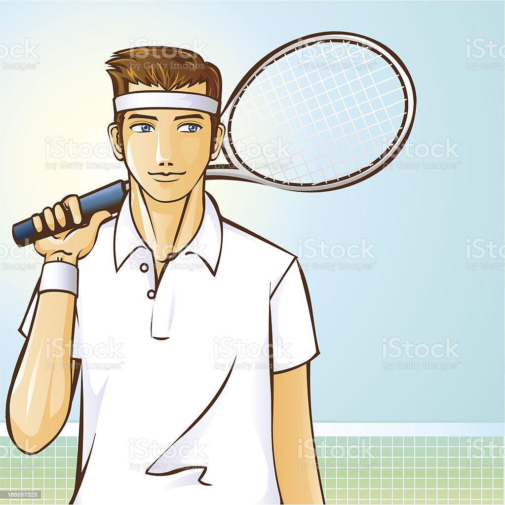 Male Tennis Player royalty-free stock vector art