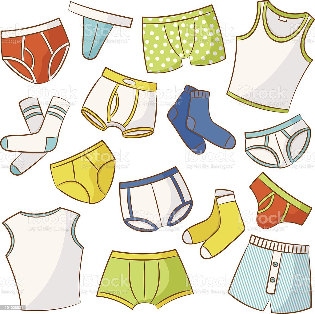 Male Underwear Icon Set vector art illustration
