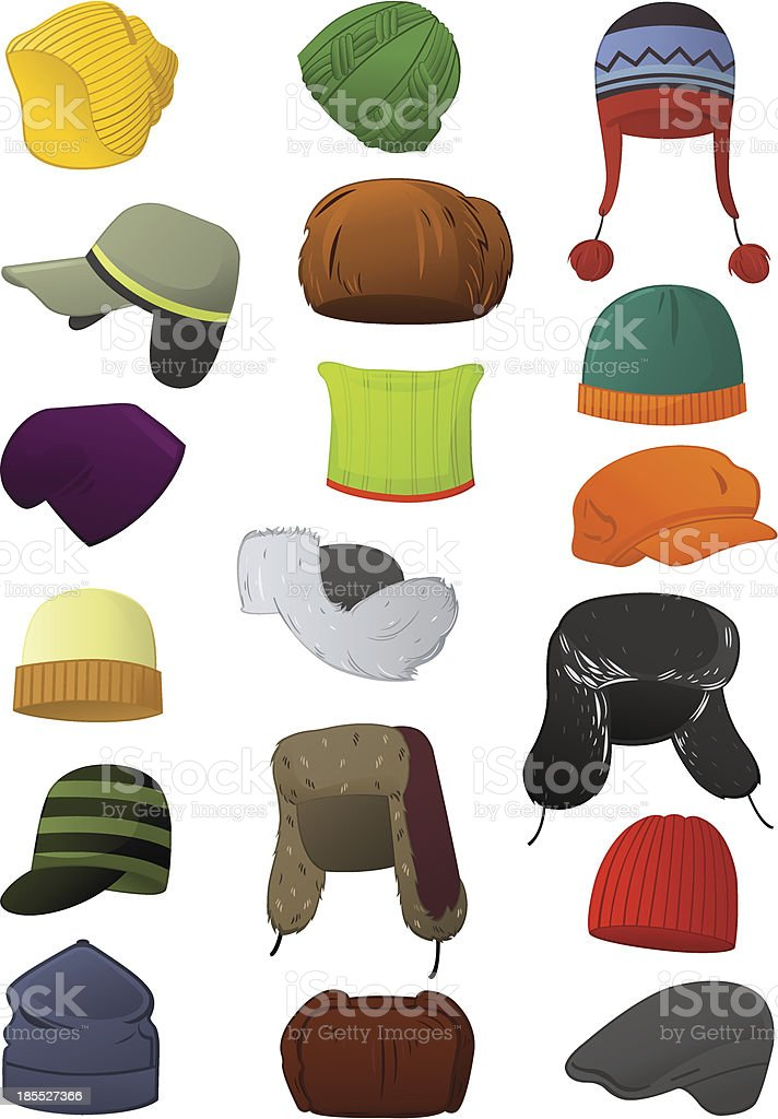 Male winter hats vector art illustration