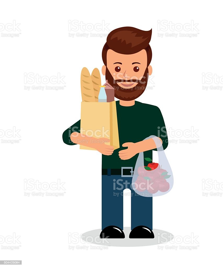 Male with shopping. vector art illustration