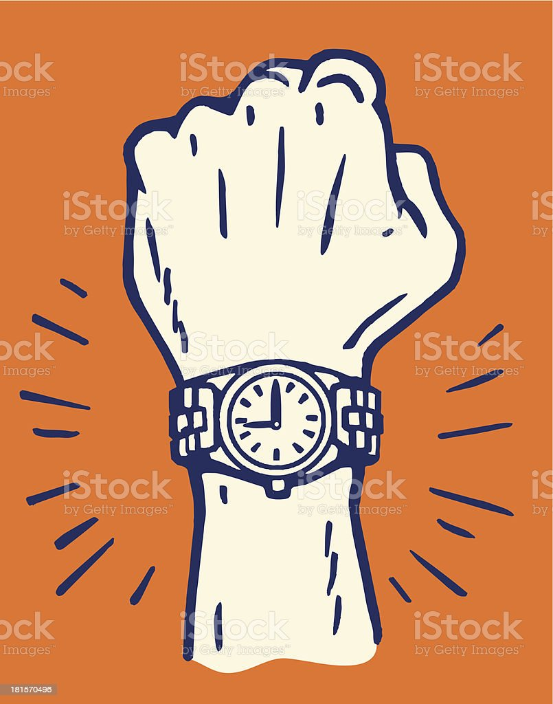 Male Wrist with New Watch vector art illustration