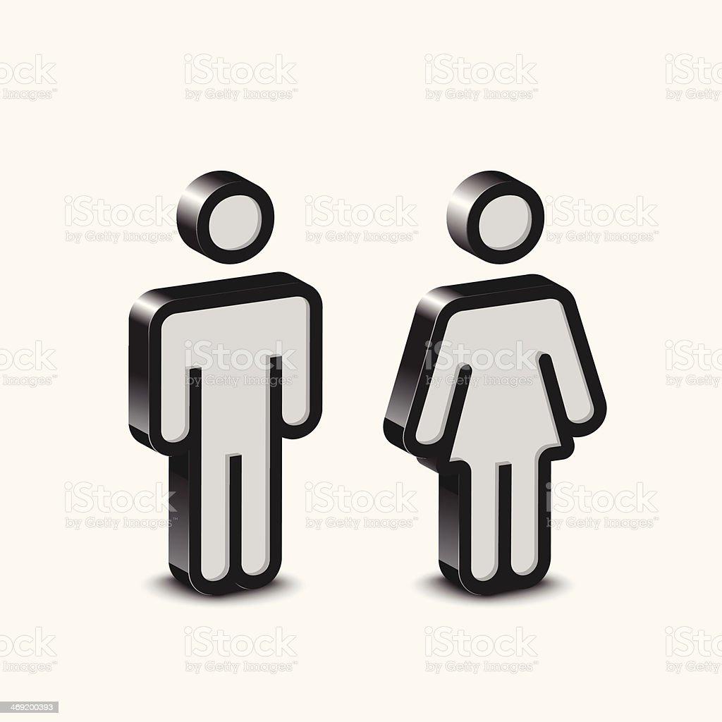 Male&Female vector art illustration