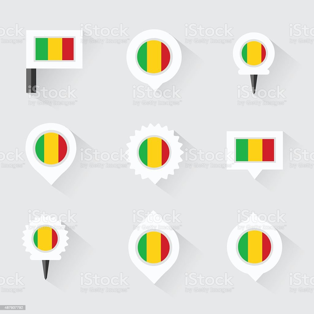 mali flag and pins for infographic, and map design vector art illustration