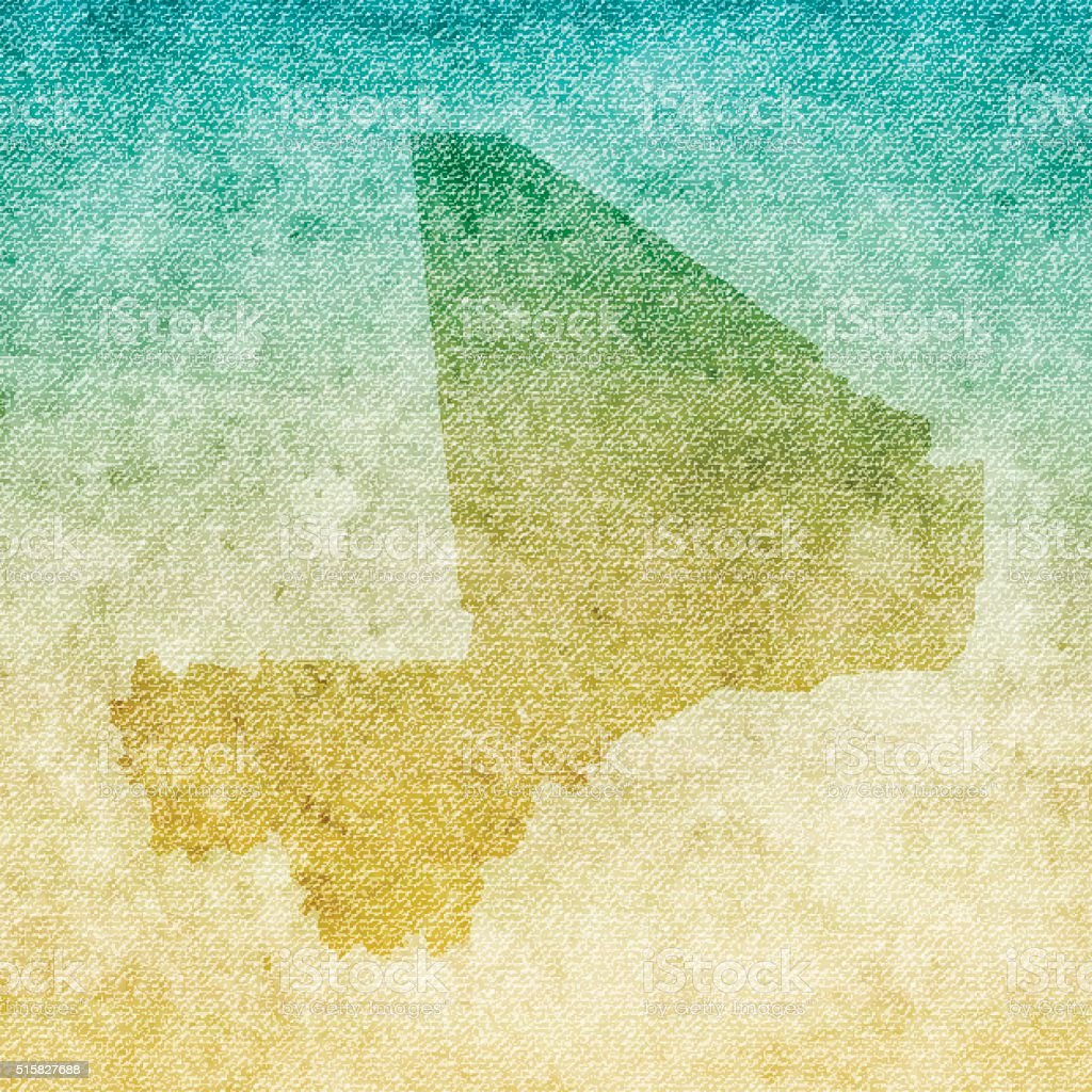Mali Map on grunge Canvas Background vector art illustration