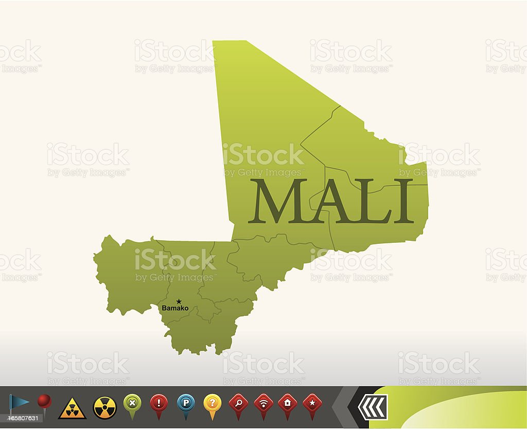 Mali map with navigation icons royalty-free stock vector art