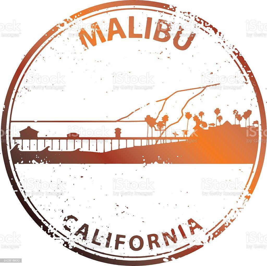 Malibu Cityscape Stamp vector art illustration