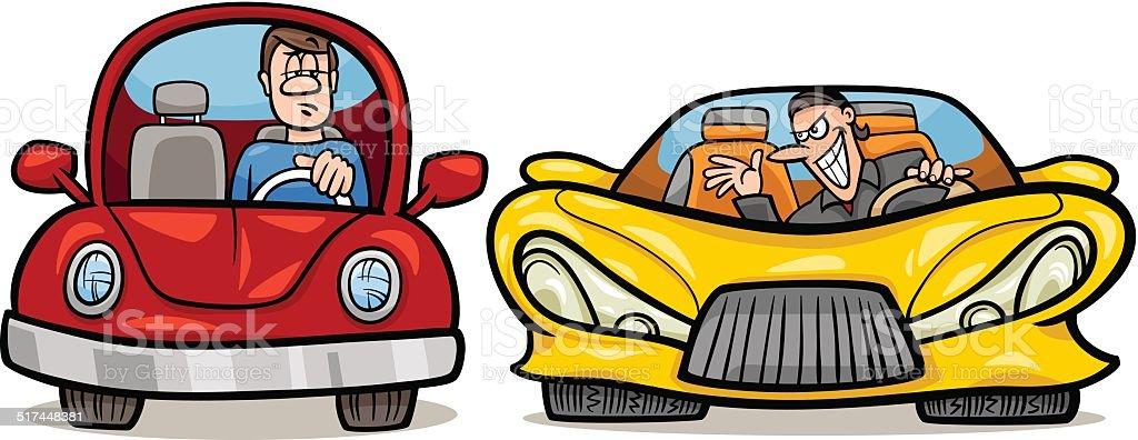 malicious driver cartoon illustration vector art illustration