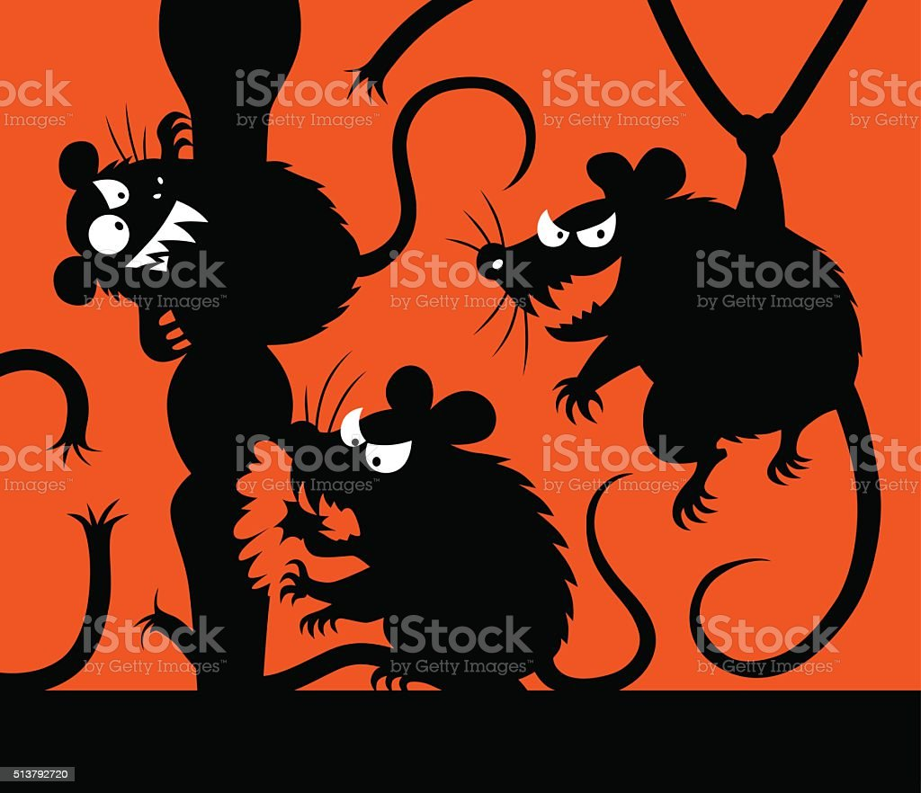 malicious mouses silhouettes vector art illustration