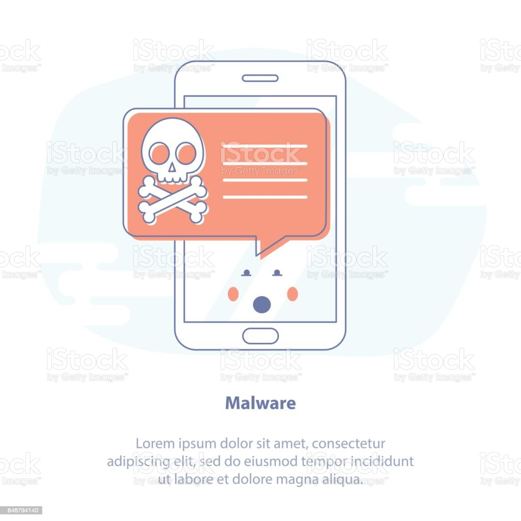 Malicious Software, System Error or Computer Virus - Isolated vector illustration. vector art illustration