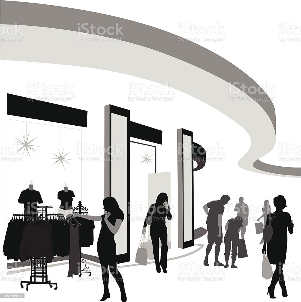 Mall Fashions Vector Silhouette royalty-free stock vector art
