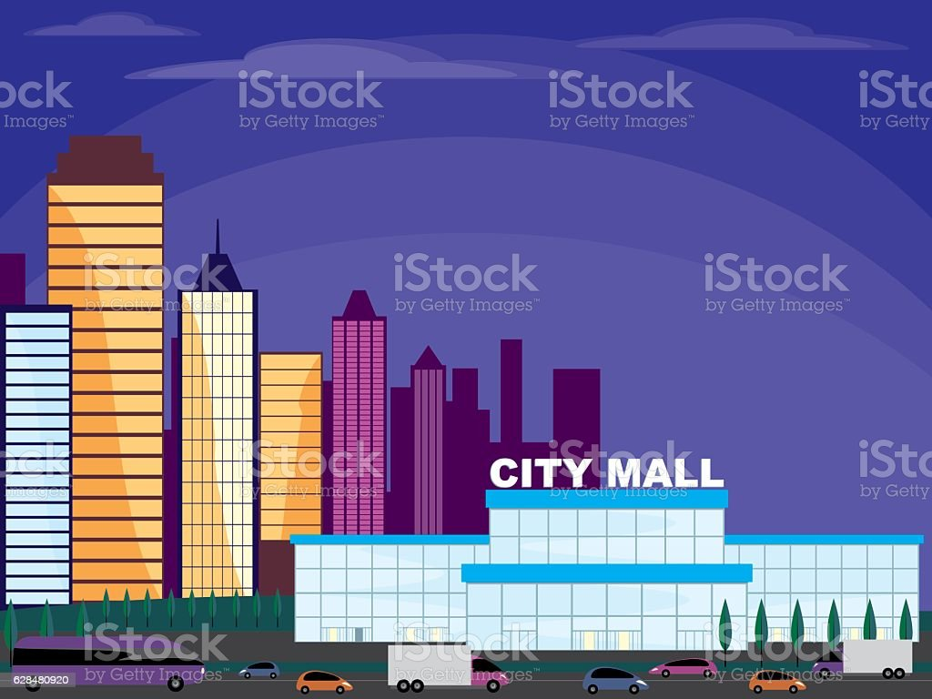 mall on the outskirts vector art illustration