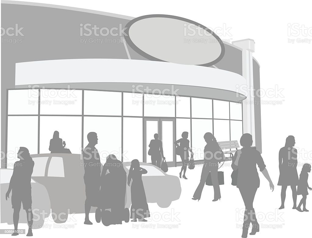 Mall Shopping Background Of Silhouette Cartoon People vector art illustration