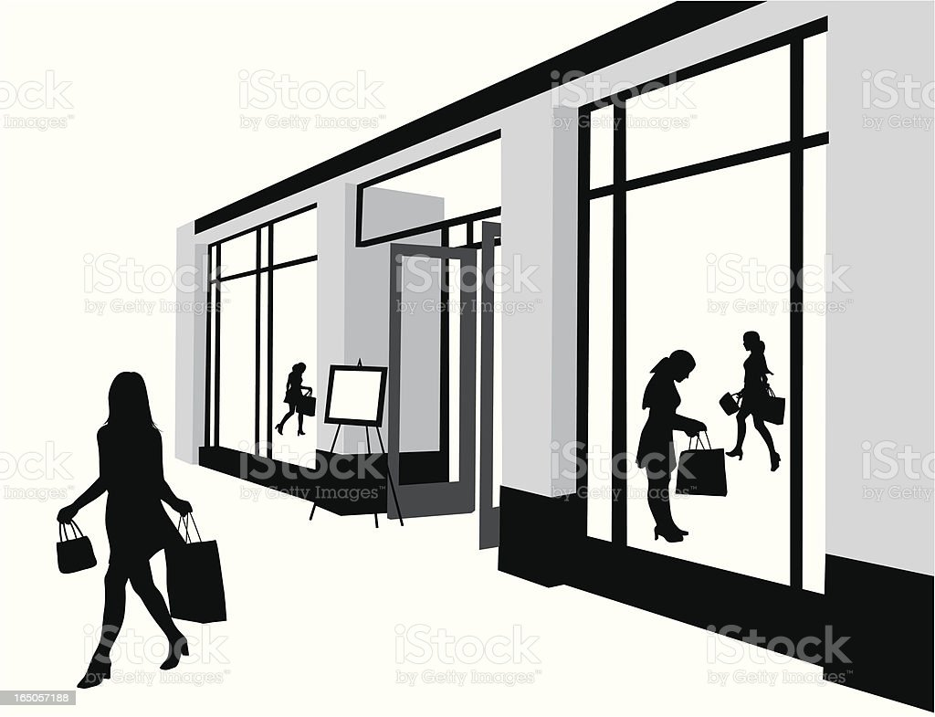 Mall Shopping Vector Silhouette royalty-free stock vector art