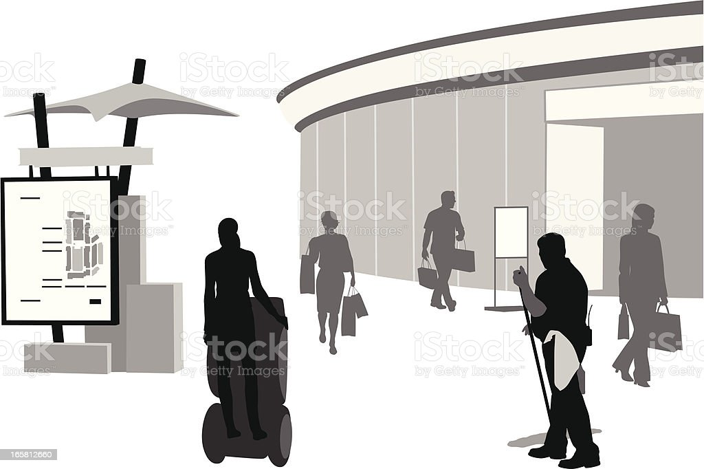 Mall Workers Vector Silhouette vector art illustration