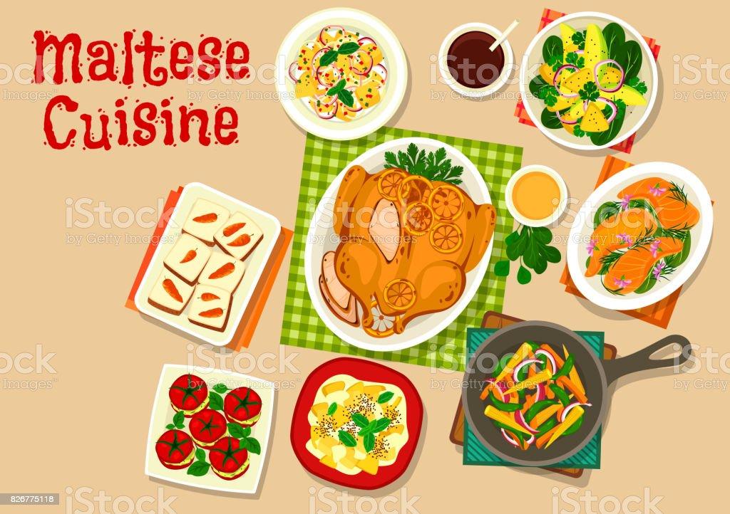 Maltese cuisine healthy food icon for menu design vector art illustration