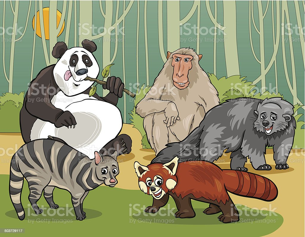 mammals animals cartoon illustration vector art illustration