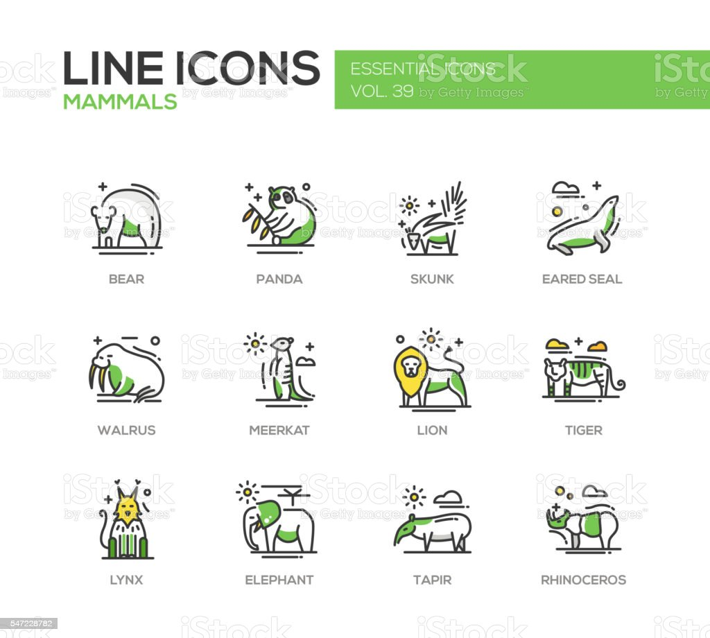 Mammals - line design icons set vector art illustration