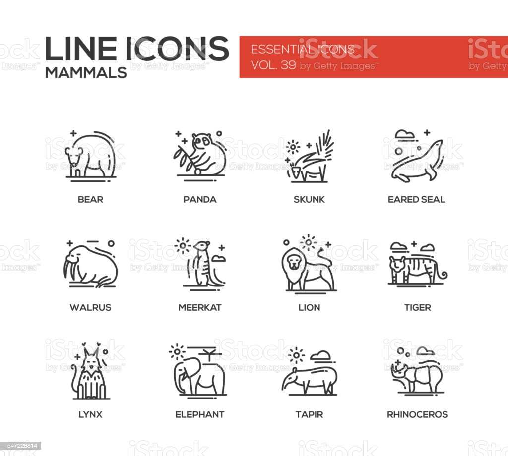 Mammals - line design icons set vector art illustration
