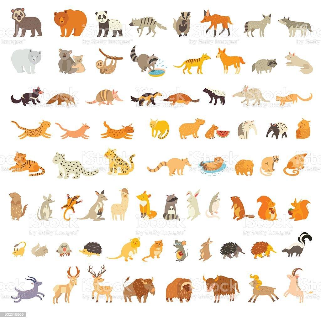 Mammals of the world. Extra big animals set vector art illustration