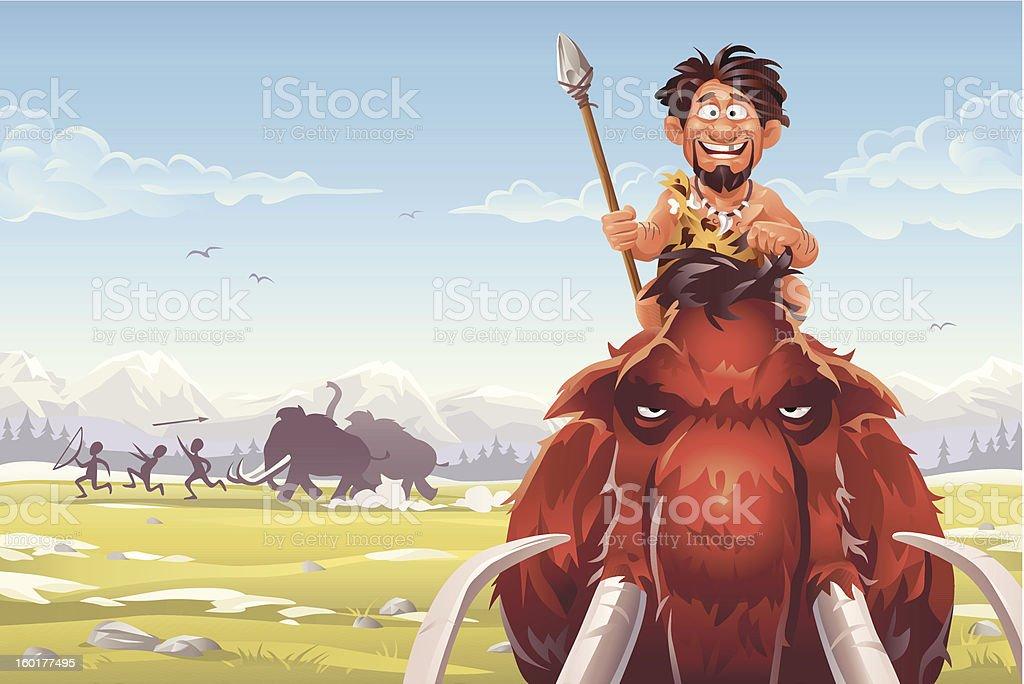 Mammoth Hunters vector art illustration