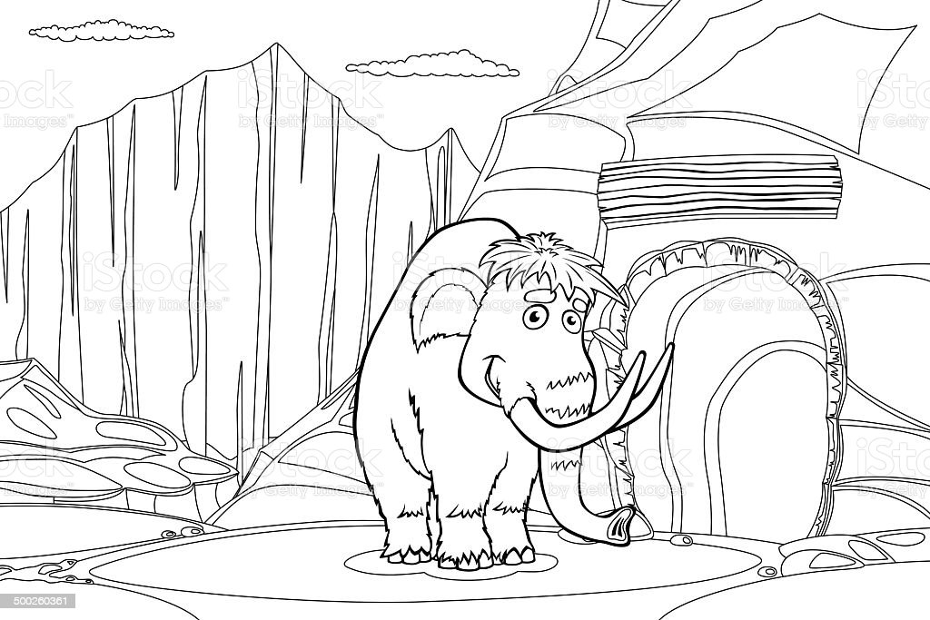 Mammoth near cave royalty-free stock vector art