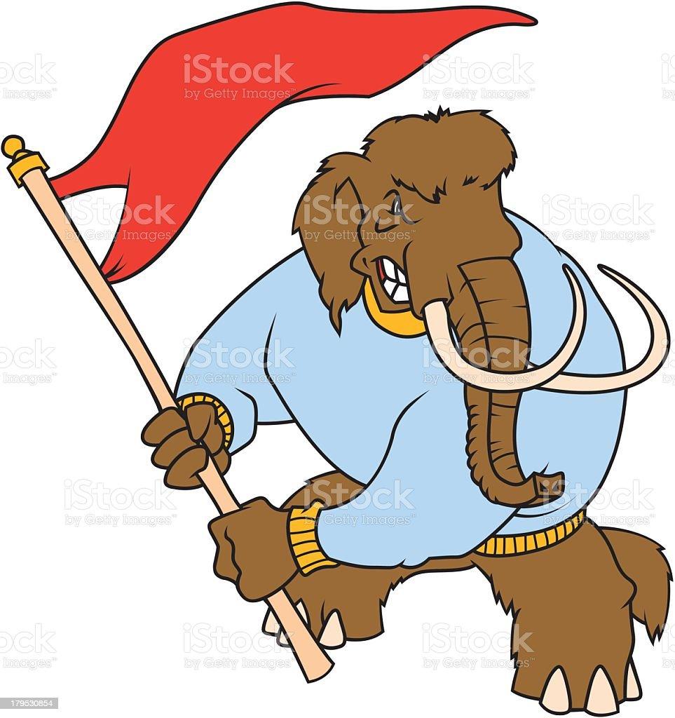 Mammoth Waving Red Flag royalty-free stock vector art