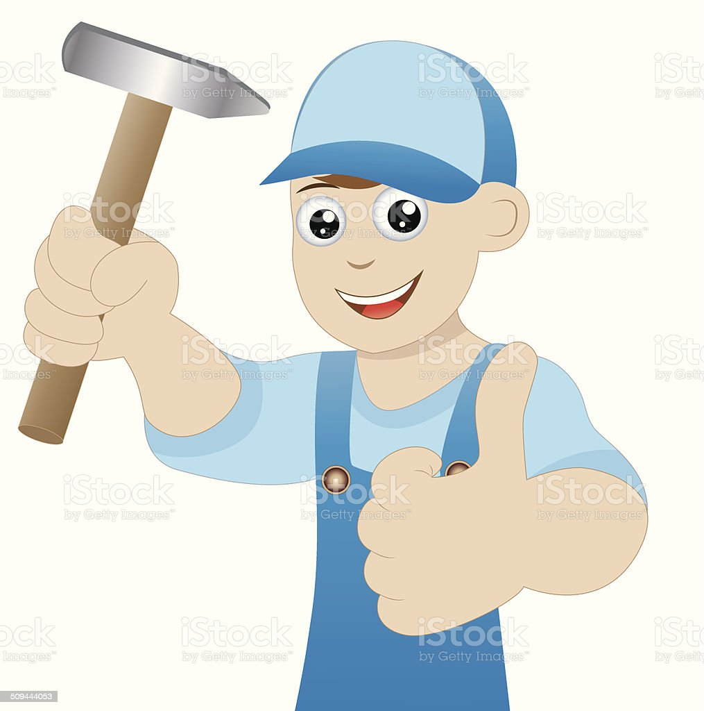 man a locksmith with a hammer in hand royalty-free stock vector art