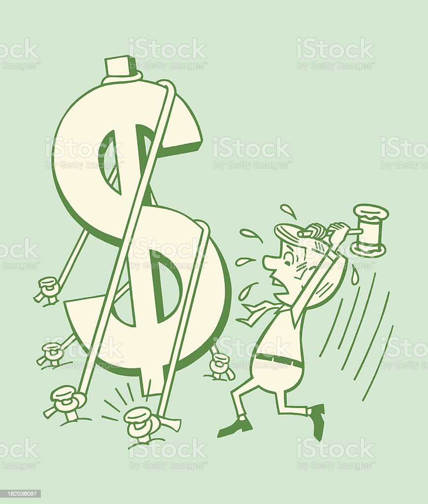 Man About to Break a Dollar Sign royalty-free stock vector art