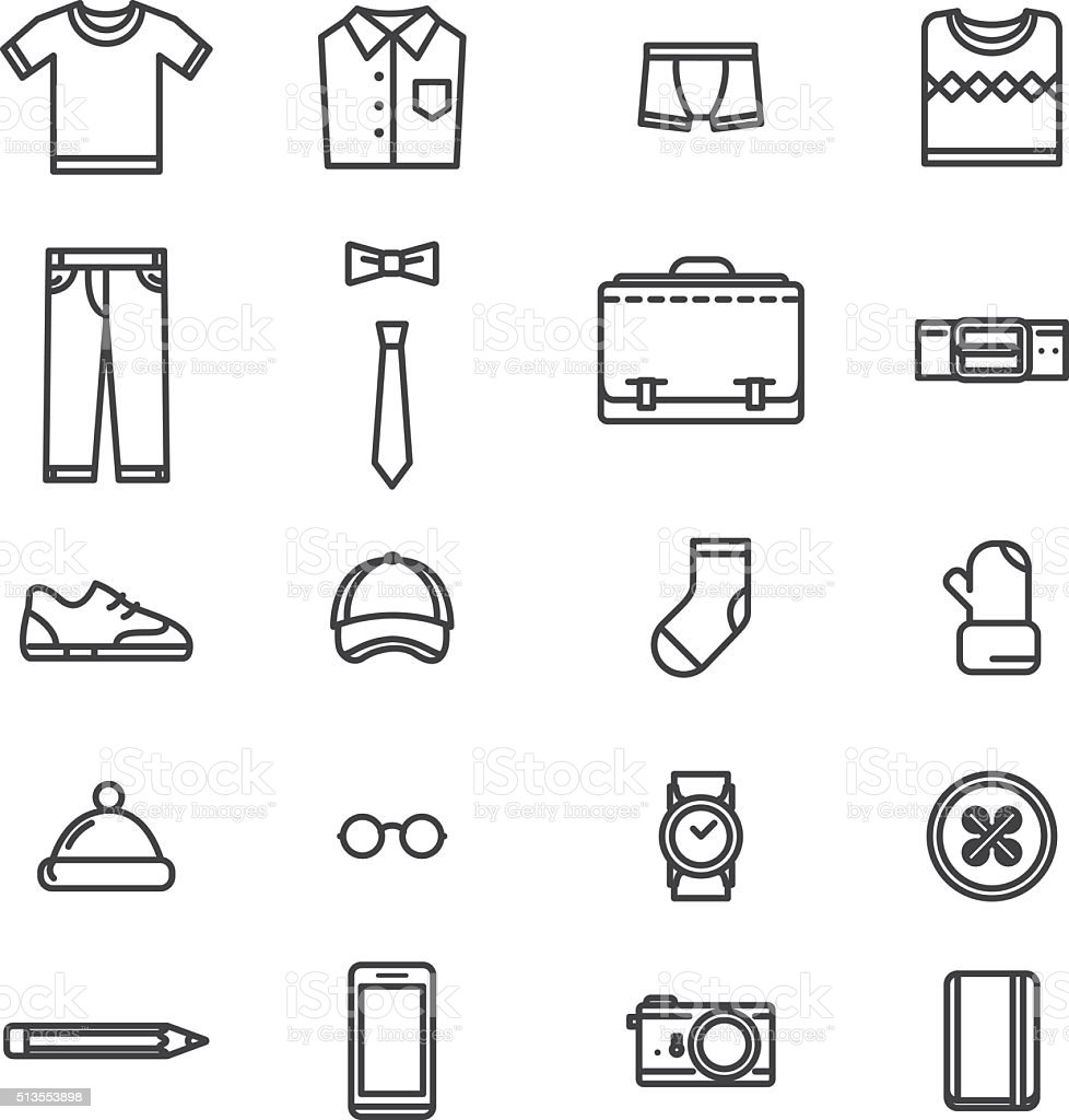Man accessories simple lineart icons vector art illustration