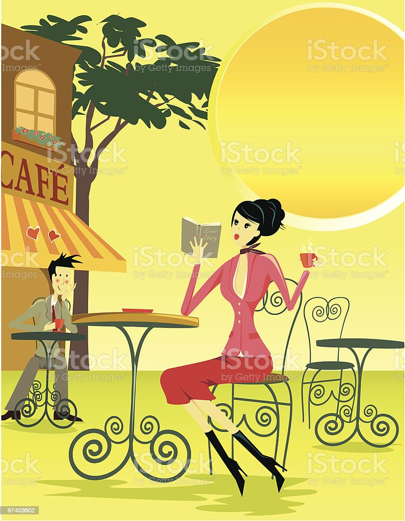 Man Admiring Woman Across Tables at Cafe royalty-free stock vector art