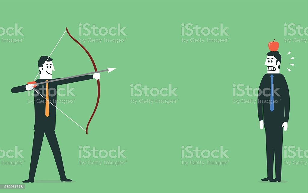 Man aiming arrow at apple on mans head vector art illustration