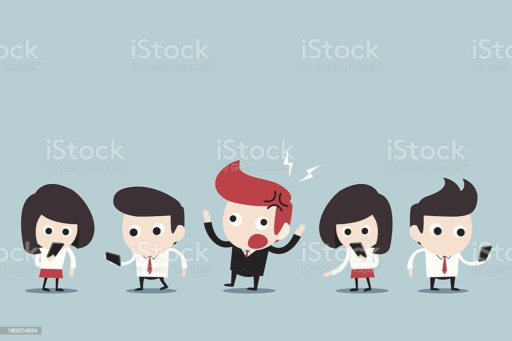 man among people focusing on devices vector art illustration