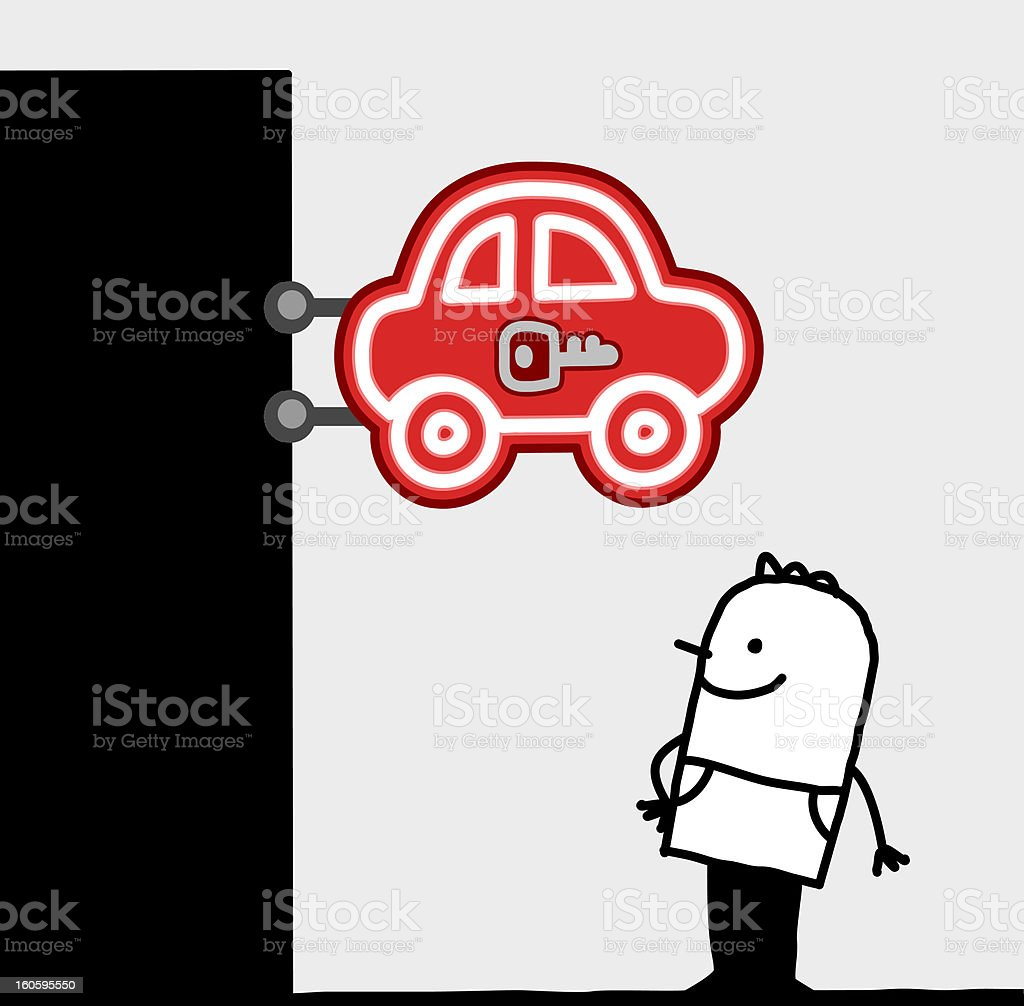 man & car store sign royalty-free stock vector art