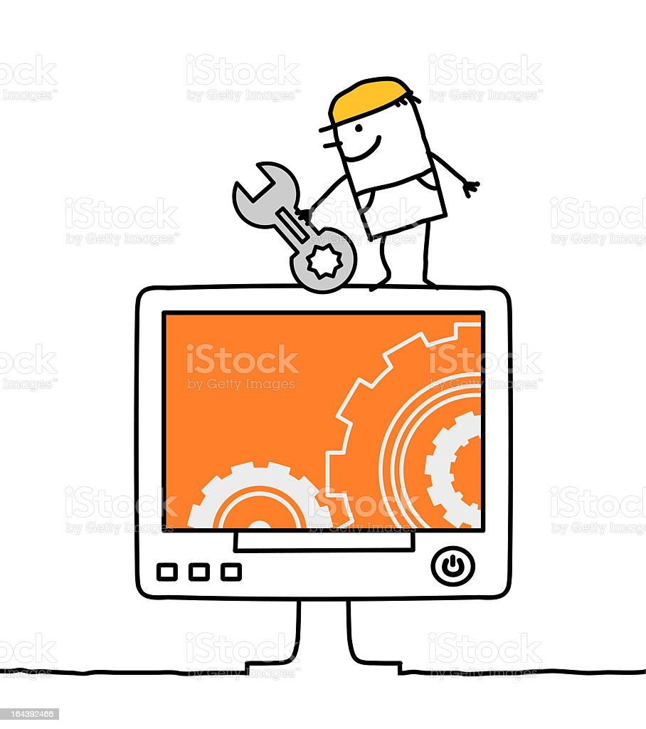 man & computer maintenance royalty-free stock vector art