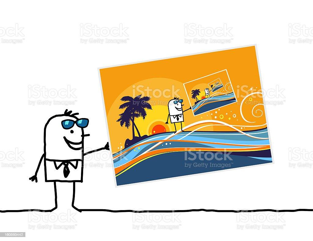 man & exotic postcard royalty-free stock photo