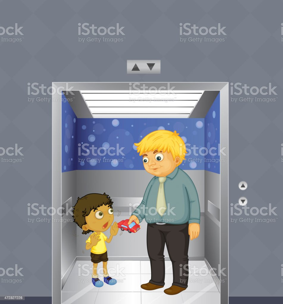Man and a kid inside the elevator royalty-free stock vector art