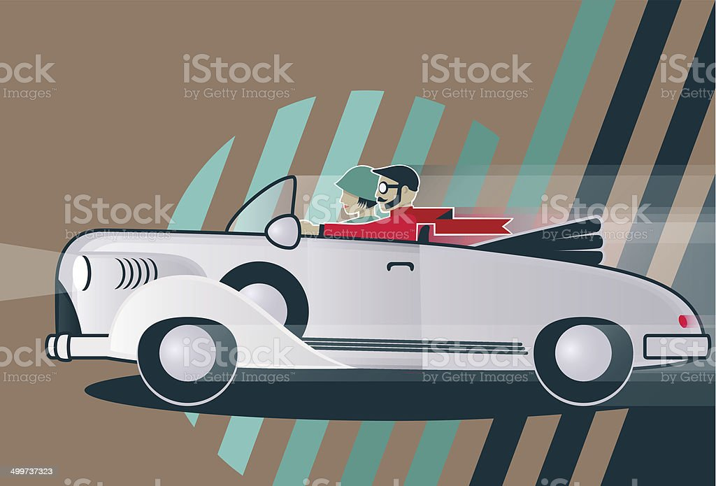Man and a Woman driving in a Vintage Car vector art illustration