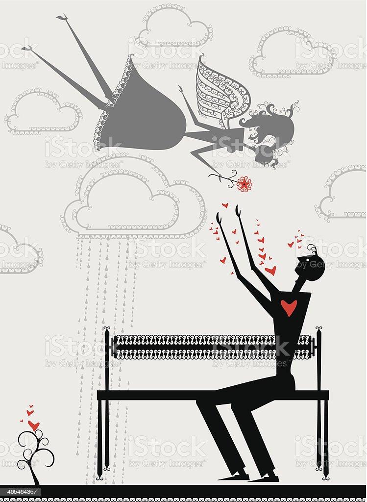 Man and angel girl. royalty-free stock vector art