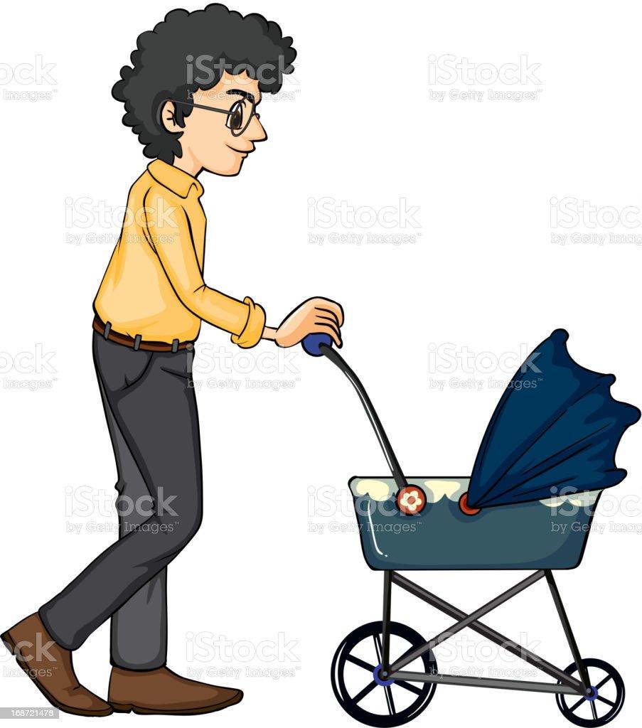 Man and baby pram royalty-free stock vector art