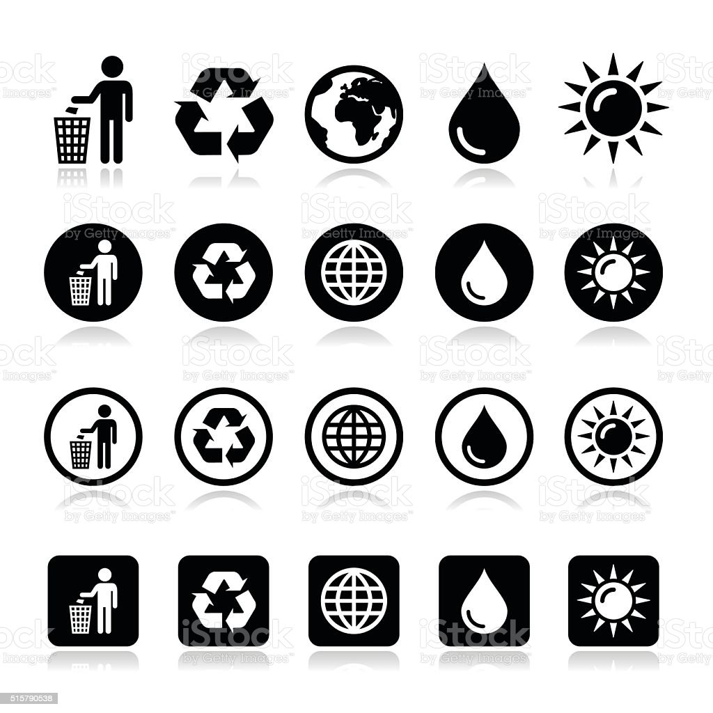 Man and bin, recycling, globe, eco power icons set vector art illustration