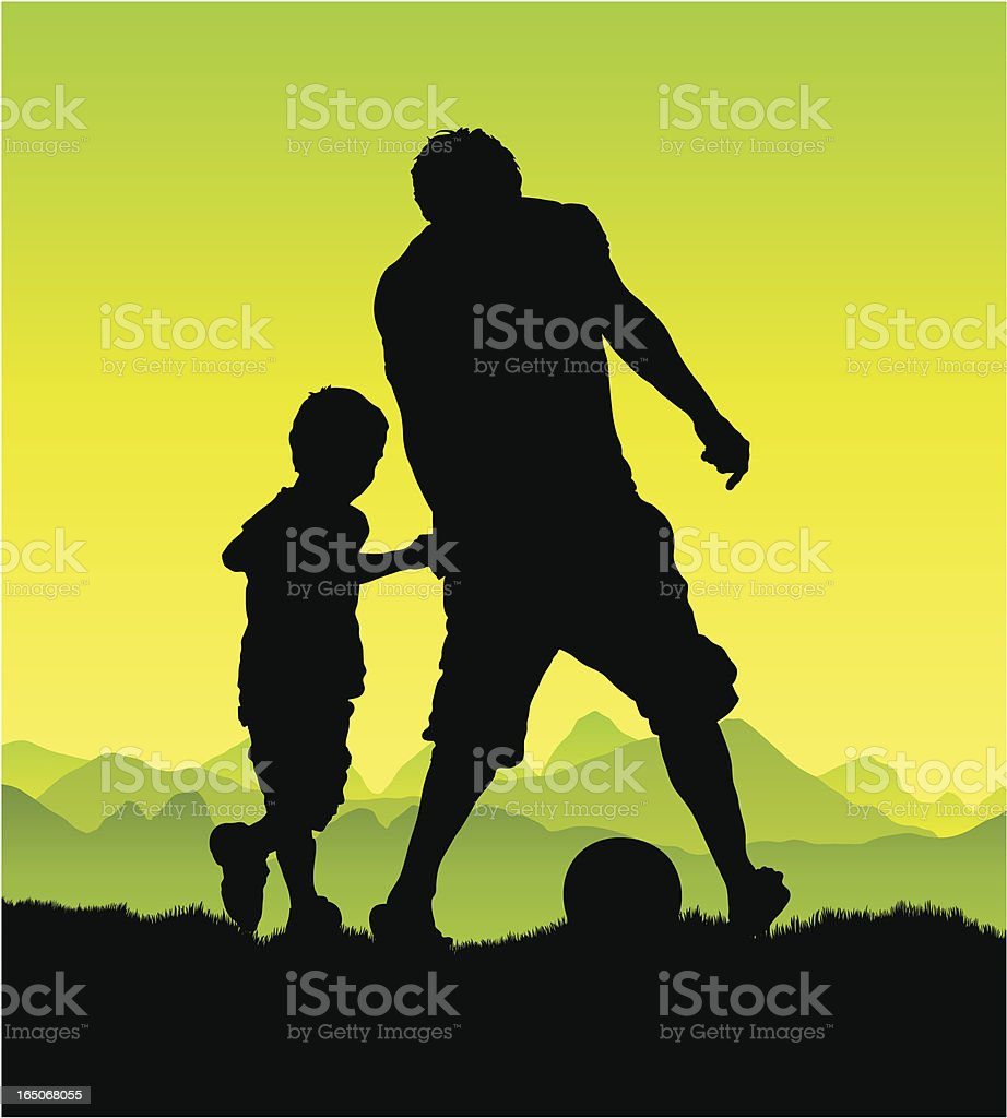 Man and boy playing vector art illustration