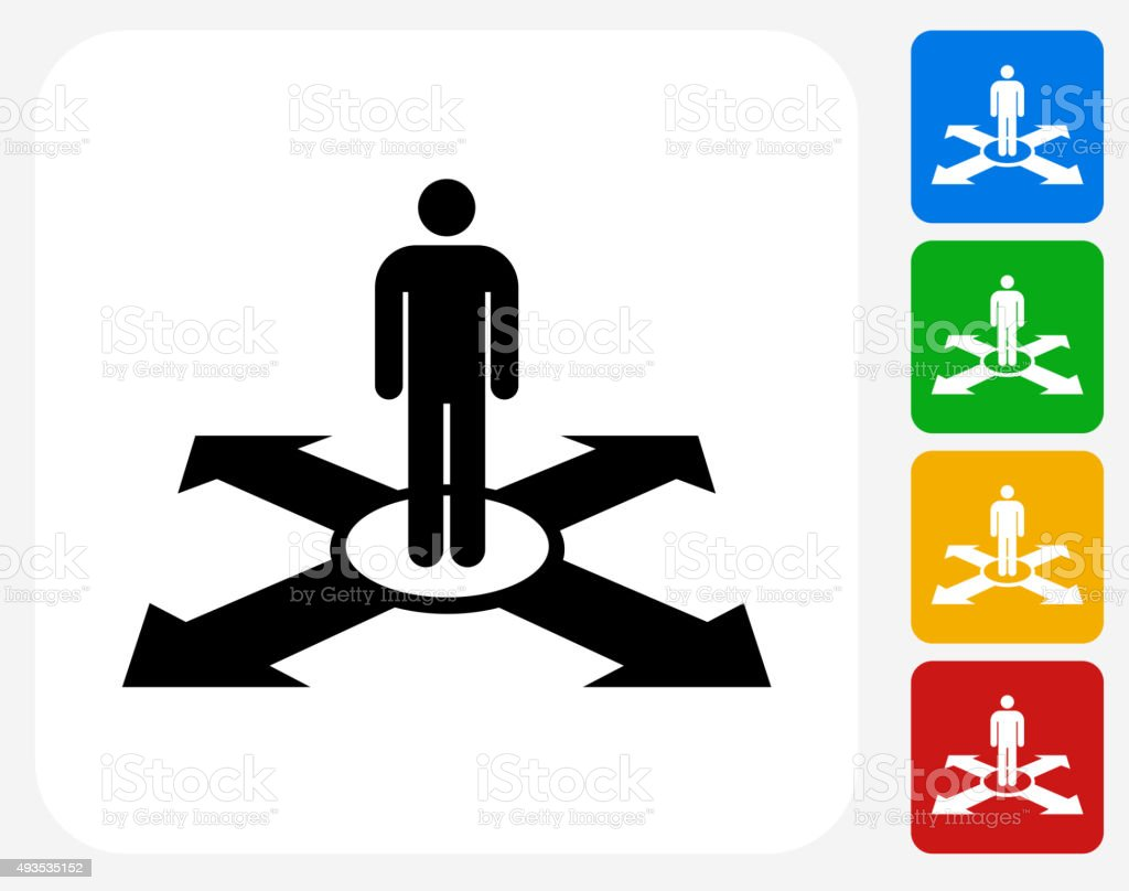 Man and Direction Icon Flat Graphic Design vector art illustration