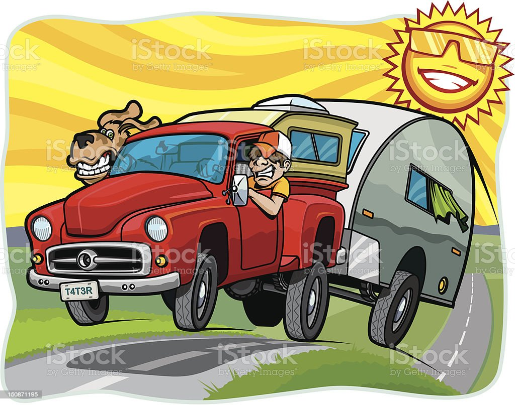 Man and Dog Driving Trailer Down Road on Sunny Day royalty-free stock vector art