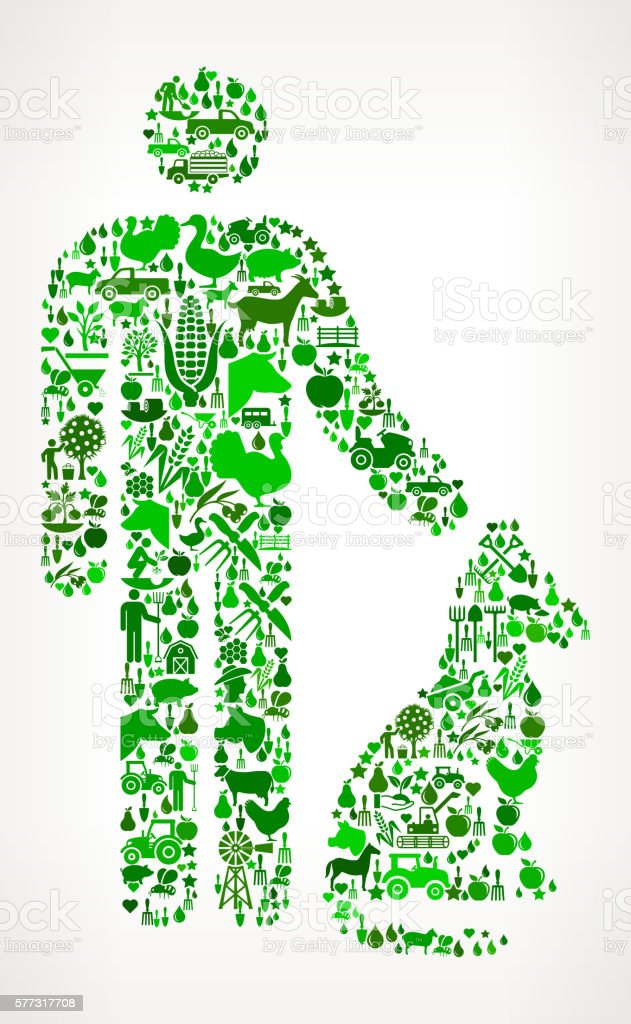 Man and Dog Farming and Agriculture Green Icon Pattern vector art illustration
